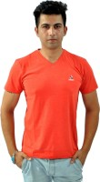 Sparkk T Shirts (Men's) - Sparkk Solid Men's V-neck Orange T-Shirt