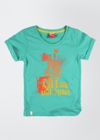 Puma Girls Graphic Print T Shirt(Green, Pack of 1)