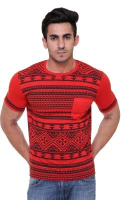 FREE RUNNER Printed Men's Round Neck Red T-Shirt