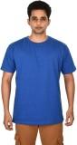 Leep Solid Men's Round Neck Blue T-Shirt