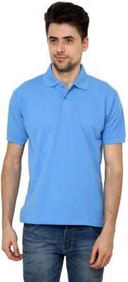 Grand Bear Solid Men's Polo Neck Light Blue T-Shirt