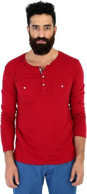 Mr Button Solid Men's Henley Red T-Shirt
