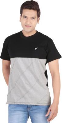 Vsquared Solid Men's Round Neck Black, Grey T-Shirt