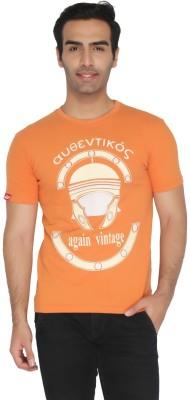 Again Vintage Printed Men's Round Neck Orange T-Shirt