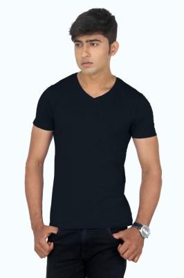 TeesTadka Solid Men's V-neck Black T-Shirt