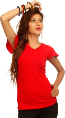 A N, E Solid Women's V-neck Red T-Shirt