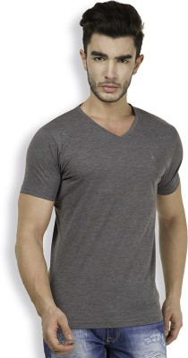 The Indian Garage Co. Solid Men's V-neck Grey T-Shirt