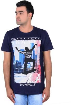 IPG Printed Men's Round Neck Blue T-Shirt