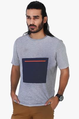 Mr Button Solid Men's Round Neck Grey T-Shirt