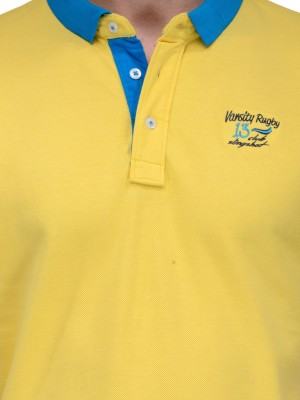Slingshot Solid Men's Polo Neck Yellow T-Shirt