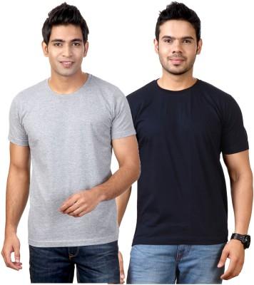 Top Notch Solid Men's Round Neck Grey, Dark Blue T-Shirt