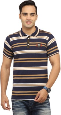 Byrock Striped Men's Polo Neck Multicolor T-Shirt