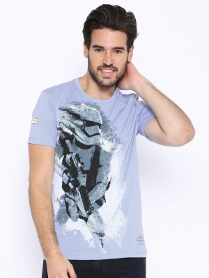 Kook N Keech Star Wars Printed Men's Round Neck Blue T-Shirt