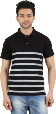 MA Striped Men's Polo Neck Black T-Shirt