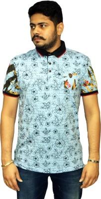 Navratna Nxt Printed Men,s Flap Collar Neck Light Blue T-Shirt
