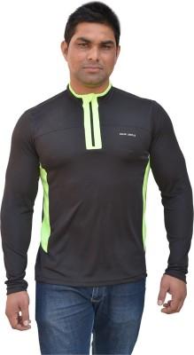 Color Castle Solid Men's Fashion Neck Black T-Shirt