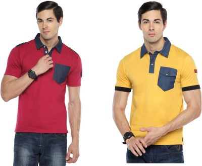 Swing9 Embroidered Men's Polo Neck Maroon, Yellow T-Shirt