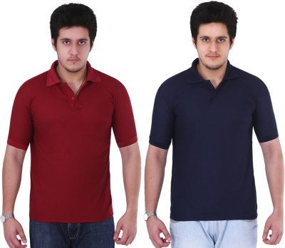 NGT Solid Men's Polo Neck Maroon, Dark Blue T-Shirt