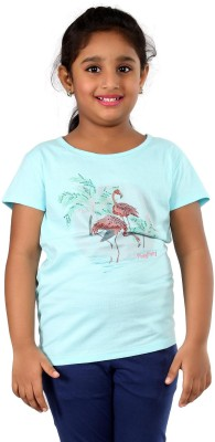 PINKY PONKY Solid Girl's Round Neck Blue T-Shirt