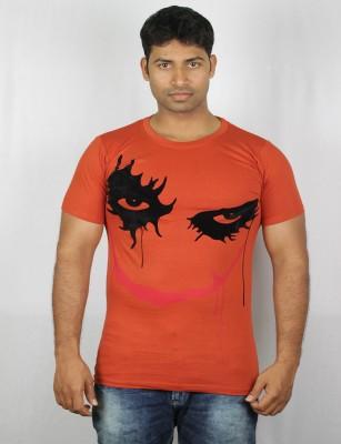 Mr Sha Printed Men's Round Neck Orange T-Shirt