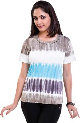 TVENO Printed Women's Round Neck Blue T-Shirt