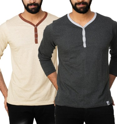 UnKonventional Self Design, Solid Men's Henley Beige, Grey T-Shirt