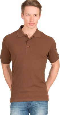 Wilkins & Tuscany Solid Men's Polo Neck Brown T-Shirt
