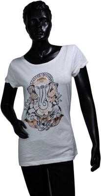 Starsy Printed Women's Round Neck White T-Shirt
