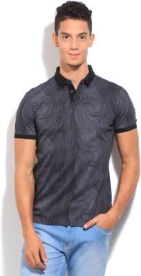 Arrow Newyork Printed Men's Polo Black, Grey T-Shirt