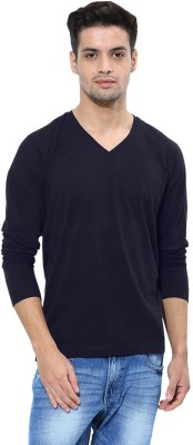 Softwear Solid Men's V-neck Dark Blue T-Shirt