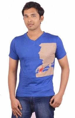 Indrow Printed Men's V-neck Blue T-Shirt