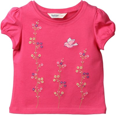 Beebay Embroidered Baby Girl's Round Neck Pink T-Shirt