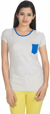 Defossile Solid Women's Round Neck Multicolor T-Shirt