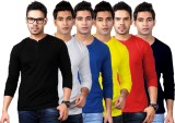 Ilbies Solid Men's Henley Multicolor T-S...