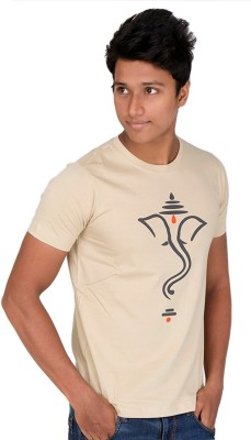 Furious Active Graphic Print Men's Round Neck Beige T-Shirt