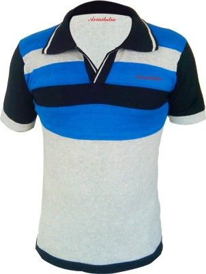 Avioitalia Striped Men's Flap Collar Neck T-Shirt
