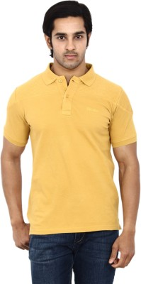 STACKIA Solid Men's Polo Neck Gold T-Shirt