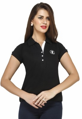 Run of luck Solid Women's Polo Black T-Shirt