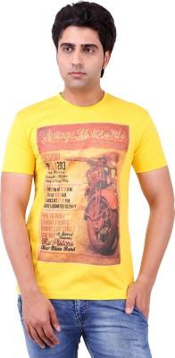 Vitaly Printed Men's Round Neck Yellow T-Shirt