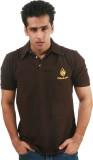 Fizzaro Solid Men's Polo Neck Brown T-Sh...