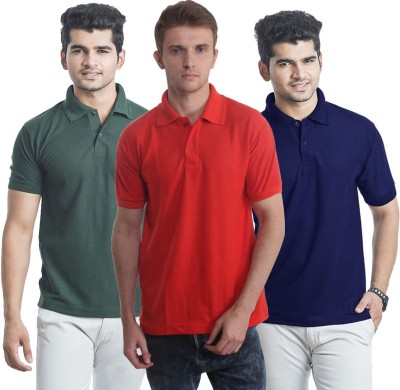 Bainsons Solid Men,s Polo Blue, Green, Red T-Shirt