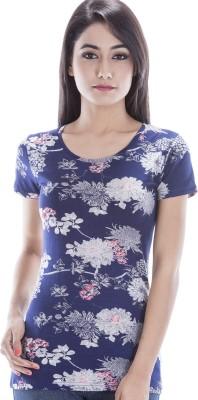 Peppermint Blues Floral Print Women,s Round Neck T-Shirt
