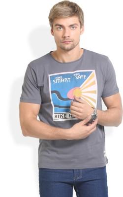 HW Printed Men,s Round Neck Grey T-Shirt