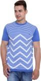 Unex Woven Men's Round Neck Blue T-Shirt