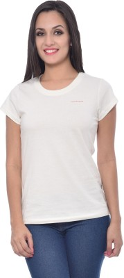 Frenchtrendz Solid Women,s Round Neck White T-Shirt