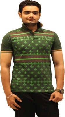 GOPAL EMPORIUM Printed Men's Flap Collar Neck Green T-Shirt