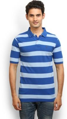 Thisrupt Striped Men's Polo Neck Blue T-Shirt