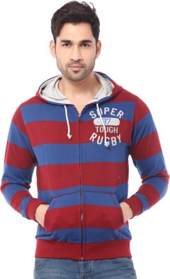 Rugby Striped Men's Hooded Maroon T-Shirt