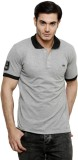 ominous Solid Men's Polo Neck Grey T-Shi...