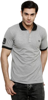 ominous Solid Men,s Polo Neck Grey T-Shirt